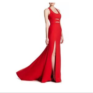 NEW Terani Couture Slit Cutout Gown Red SZ 8